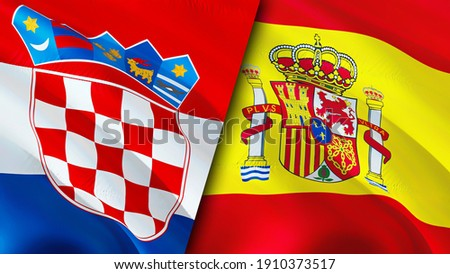 Croatia and Spain flags. 3D Waving flag design. Spain Croatia flag, picture, wallpaper. Croatia vs Spain image,3D rendering. Croatia Spain relations alliance and Trade,travel,tourism concept