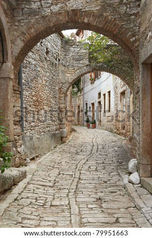 Croatia, Bale. Quiet street in old town