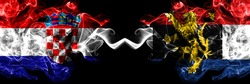 Croatia, Croatian vs Benelux smoky mystic flags placed side by side. Thick colored silky abstract smoke flags.