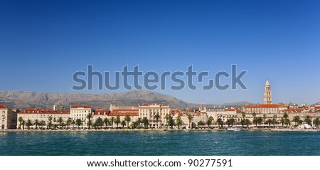 Croatia. Dalmatia. Cityscape of Split - houses facades and remains of the Diocletian's Palace (Historical Complex of Split with the Palace of Diocletian is on UNESCO World Heritage List since 1979)