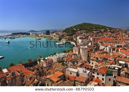 Croatia. Dalmatia. General view on Split city - there is remains of the Diocletian's Palace in foreground (Historical Complex of Split with the Palace of Diocletian is on UNESCO World Heritage List)