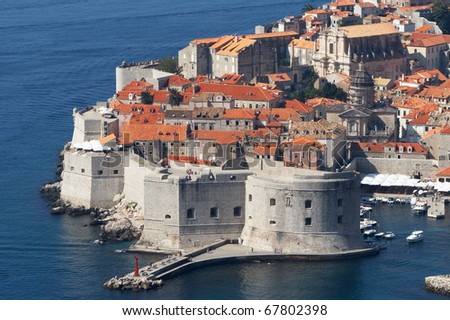 Croatia, Dubrovnik. The top view of the old town