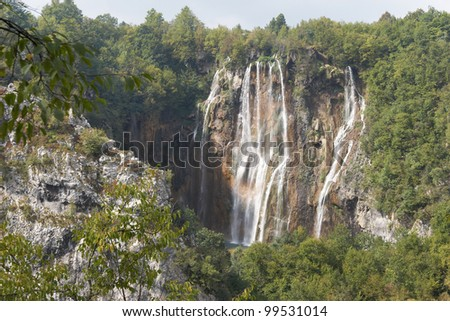 Croatia. Plitvice Lakes National Park. Waterfall Plitvice