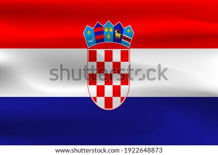Croatia Republic flag with a crease of a beautiful weight of cloth. Сток-фото ©
