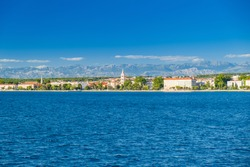 Croatia, seaside view of the city of Zadar on Adriatic coast. Famous tourist destination at Adriatic sea.