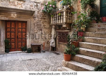 Croatia - Trogir in Dalmatia (UNESCO World Heritage Site). Old town detail.