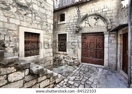 Croatia - Trogir in Dalmatia (UNESCO World Heritage Site). Old town detail.