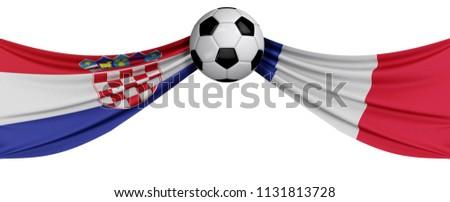 Croatia versus France soccer match. 3D Rendering