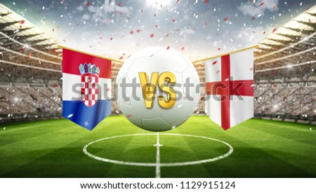 Croatia vs England. Soccer concept. White soccer ball with the flag in the stadium, 2018. 3d render
