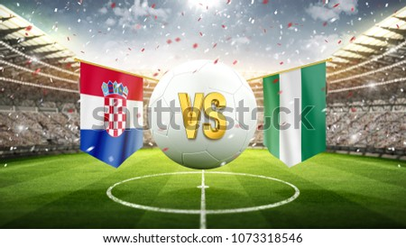 Croatia vs Nigeria. Soccer concept. White soccer ball with the flag in the stadium, 2018. 3d render