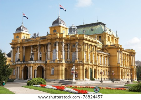 Croatia, Zagreb. The building of the Croatian National Theater