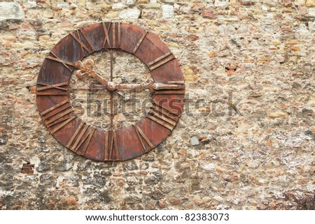 Croatia, Zagreb. The old clock on the old city wall