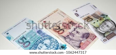 Croatian Kuna, national paper currency. Close up shot of banknotes. Hrvatska Kuna cash money. #1062447317