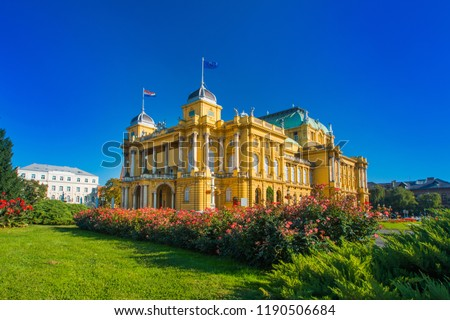 Croatian national theater building and flowers in park in Zagreb, Croatia Сток-фото ©