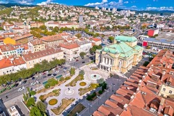 Croatian national theater in Rijeka square aerial view, fountain and architecture, Kvarner bay in Croatia