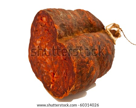 Croatian peppery ham isolated on white background