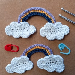 Crochet for beginner patter clouds with rainbow. This pattern so easy, just use singel crochet and double crochet to make clouds with rainbow.