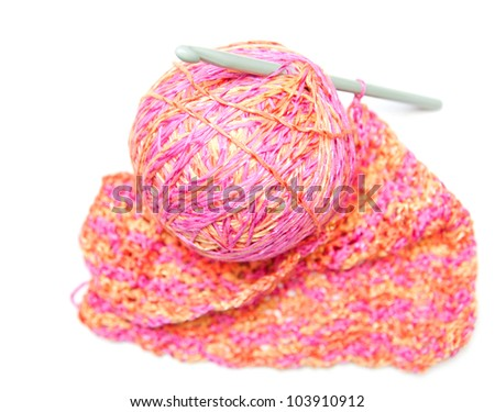 Crochet hook and cotton isolated