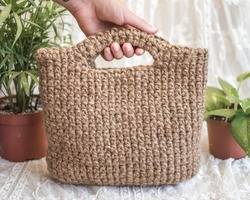 Crochet Jute Rope Bag, Natural Jute Twine Bag, Handmade