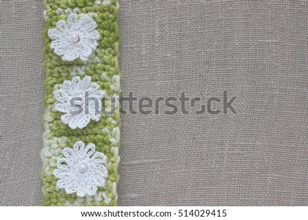 Free Photos Background With Crochet Lace Flowers And Hearts Knitted