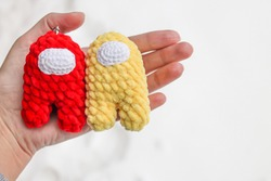 Crochet toy crew member among us red and yellow Impostor
