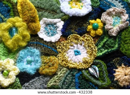 Crocheted flowers and leaves
