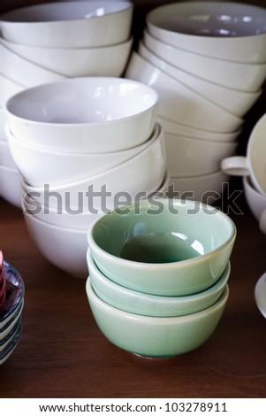 Crockery bowls in the larder