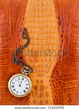 Crocodile leather texture background with antique pocket watch