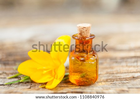 crocus essential oil in a beautiful bottle on the table