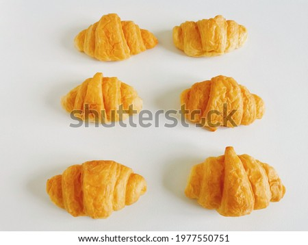 Croissants are commonly eaten for breakfast with coffee or tea the main ingredients are bread flour, milk, sugar, yeast, salt, water, butter Stock fotó ©