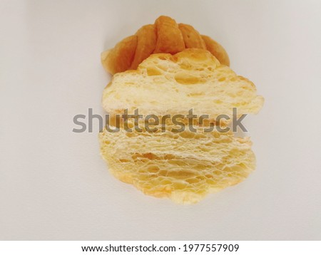 Croissants are commonly eaten for breakfast with coffee  or tea the main ingredients are bread flour, milk,, sugar, yeast, salt, water, butter Stock fotó ©