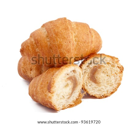 croissant stuffed with a white background