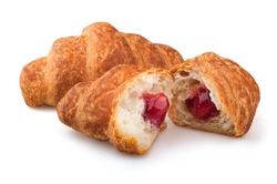croissants on a white background, strawberry jam croissants on a white background