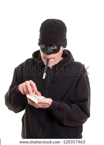 Crook counting his loot