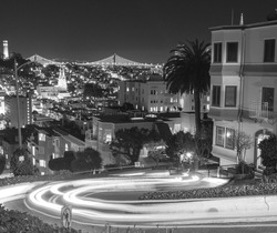 Crooked Lombard Street at Night