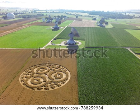 Crop circle in a cornfield at Rasiting, Upper Bavaria, Bavaria, Germany, Europe #788259934