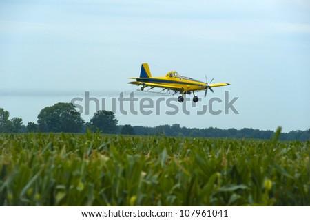 Crop Duster  spraying corn.