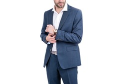 cropped boss with wristwatch. confident businessman isolated on white. ceo in formalwear.