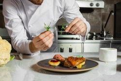 cropped caucasian chef-cook finishing delicious dish in the kitchen of restaurant. expert in culinary. food concept