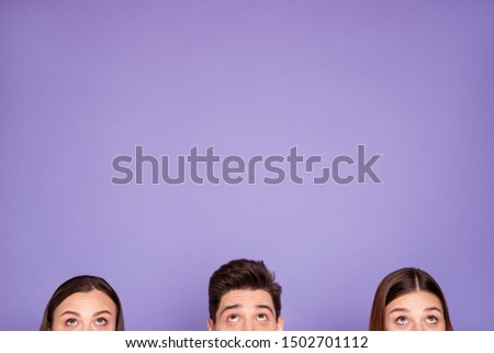 Cropped half-faced view of nice attractive lovely cute funny guys promoting good news copyspace finding solution making decision ad isolated over violet lilac background