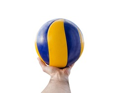 Cropped image of a man hand holding a volleyball ball against a white background