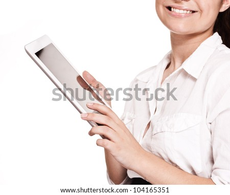 cropped image of a successful young business woman working on a tablet pc