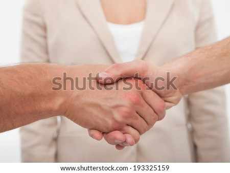 Cropped image of business colleagues shaking hands in office