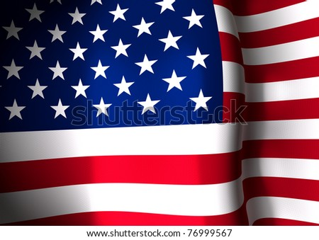 Cropped image of flapping American flag blowing in the wind. Stars and stripes USA flag flapping.
