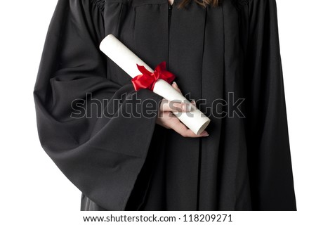 Cropped image of graduate student holding a diploma isolated on