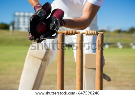Cropped image of wicket keeper standing by stumps during match on sunny day - Shutterstock ID 647590240
