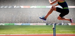 cropped image of woman practicing show jumping against view of a stadium