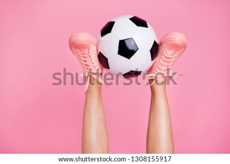 Photo of Cropped image view photo of nice cool girlish fit thin slim legs cozy comfort zone footgear lifestyle rest relax white black ball weekend isolated over pink pastel background
