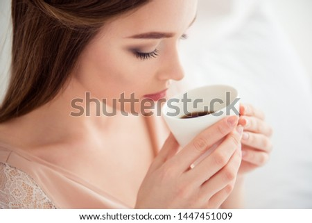 Cropped photo close up of charming youth student have americano arabica in bed hair hairstyle brunette dressed underwear night wear content glad tranquil break pause in apartment #1447451009