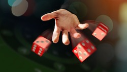 Cropped shot of male hand throwing dices. Mobile casino background. Poker online application concept. Gambling app design.